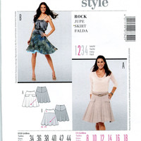 SKIRT SEWING PATTERN Burda 7342 Knee Length Skirt Easy to Sew Skirts Size 8 to 18 UNCuT 2000s Burda Style Womens Sewing Patterns