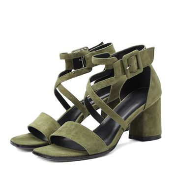 Women's Sheep Suede High Heels Shoes Open Toe Cross Strap Buckled Party Sandals