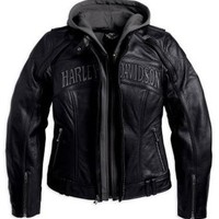 Harley-Davidson Women's Reflective Skull 3-in-1 Leather Jacket. 98152-09VW