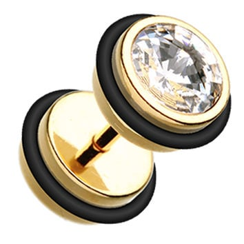 Gold PVD Glass-Gem Top Fake Plug with O-Rings