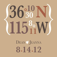 latitude longitude custom name and date wedding or anniversary wall art print 8x10 gift