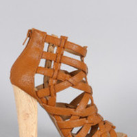 Women's Shoe Republic LA Caged Open Toe Heel