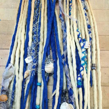 Custom Wool Dreads Handmade Hair Extensions Wool Dreads Ombre Hair Accessories Set of 20 Under the Sea