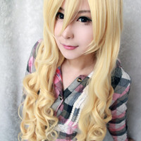Anime Cosplay TouhouProject-Watatsuki noToyohime Beautiful 90cm Long Curly Yellow Wig,Colorful Candy Colored synthetic Hair Extension Hair piece 1pcs WIG-236A
