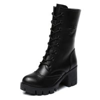 Winter Leather High Heels Lace Up Short Martin Boots