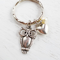 Owl Charm Keychain Keyring, I Love Owl Key Ring, Silver Owl Key Ring, Owl Charm Jewelry, Heart Owl, Owl Animal Bag Charm, Nature Inspired