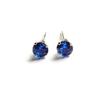Capri Blue Earrings, Swarovski Earrings, Blue Studs, Sterling Silver Earrings, Small Posts