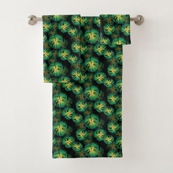 Monstera Leaves Bath Towel Set
