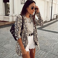 Snake Print Notched Collar Blazer
