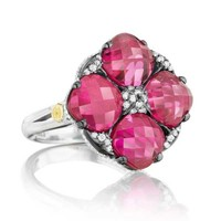 Tacori 18K925 City Lights Diamond & Red Crystal Four Stone Ring