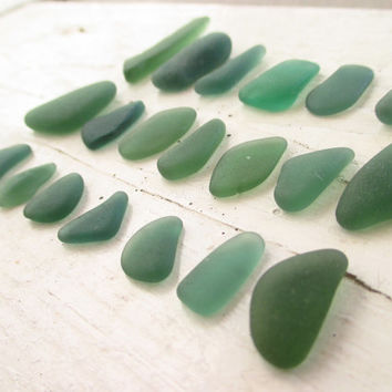 Bulk Lot of 20 // Small Medium Pendants // Various Shades of TEAL GREEN // Genuine Surf Tumbled Beach Sea Glass // Jewelry Crafts #E84