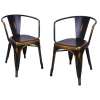 Antique Copper Metal Stacking Dining Chairs (Set of 2)