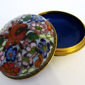 Cloisonne Jewelry Box Red Lotus Floral Enameling Blue Interior