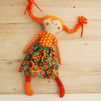 Pippi doll, Rag Doll, Linen doll, Pippi, Textile Doll, Cloth Doll, Orange Cotton Doll, Gift for Girl, Pippi Longstocking, Stuffed Doll