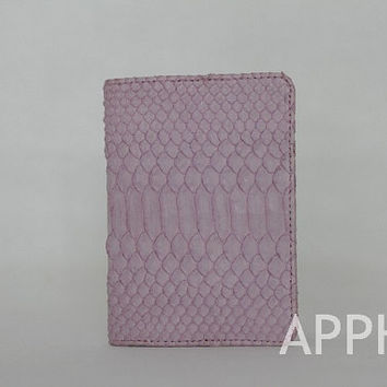 Passport Holder Genuine Exotic Python Clutch in African Violet Color
