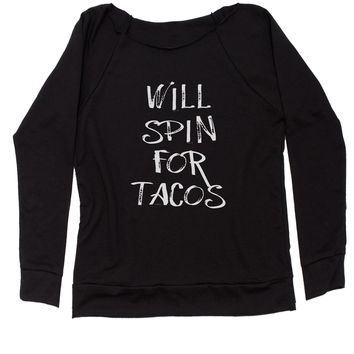 Will Spin For Tacos Slouchy Off Shoulder Oversized Sweatshirt