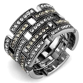 WildKlass Stainless Steel Ring High Polished (no Plating) Women Top Grade Crystal Multi Color
