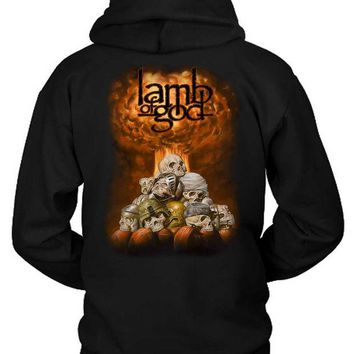 LMF1GW Lamb Of God Skull Fire Hoodie Two Sided