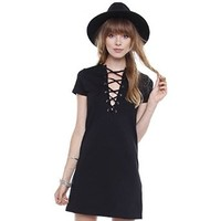 Junior's Gypsy Black Lace up Eyelet Dress D7406