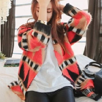 Watermelon Red Collarless Geometric Printed Cardigan