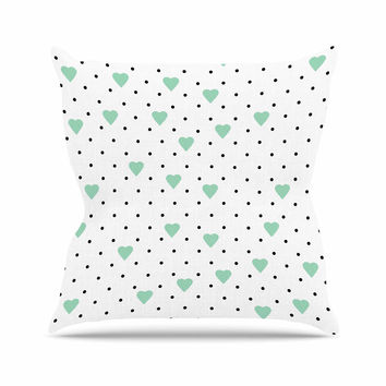 "Project M ""Pin Point Polka Dot Mint"" Green White Throw Pillow"