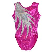 O3GL059 Obersee Girl's Girls Gymnastics Leotard - Pink Fern