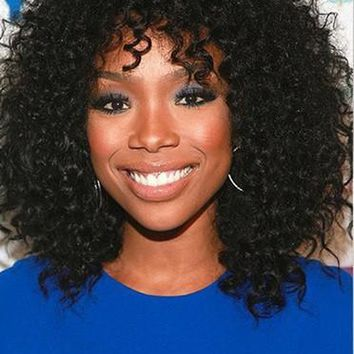 Natural Black Kinky Curl Heat Resistant Hair Synthetic Wig With Fringe