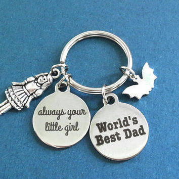 World's Best Dad, always your little girl, Batman, Girl, Silver, Gift, Keyring, Jewelry, Accessory