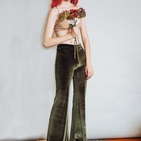 Hells Bells - Olive green velvet bell bottoms wide leg pants - emerald