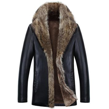 Winter sheepskin leather clothing men's Lambswool fur coat men's long section plus thick velvet leather jacket Men