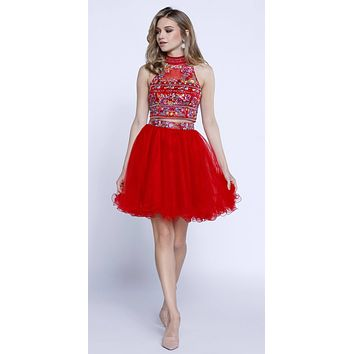 Red Embroidered Crop Top Two-Piece Homecoming Dress Keyhole Back