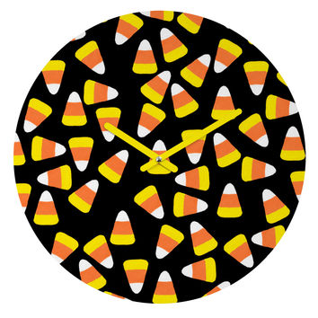 Lisa Argyropoulos Candy Corn Jumble Round Clock