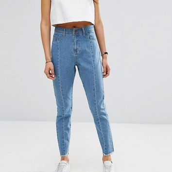 Noisy May Donna Step Hem Jean with Fray Seam Detail at asos.com