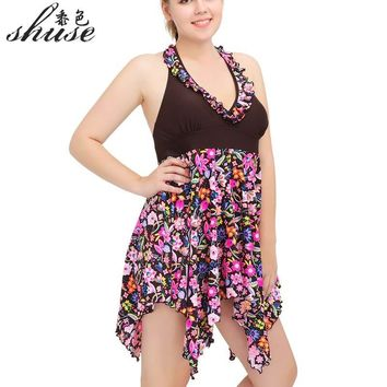 Plus Size Swimming Dress Beach Cover Up V Neck Two Pieces Swimsuits with Safety Shorts Large Size Swimwear Female 2XL-6XL
