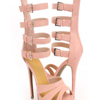 Pink Faux Leather Gladiator Heels