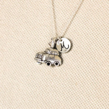 car charm necklace.personalized initial.classic car jewelry.letter charm.sterling silvr necklace. No110