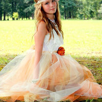 Junior Bridesmaid Tulle Dress with Lace Collar