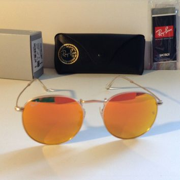 NEW Ray Ban RB 3447 112/69 50-21-145 Gold/Orange Flash 50mm Lens Sunglasses