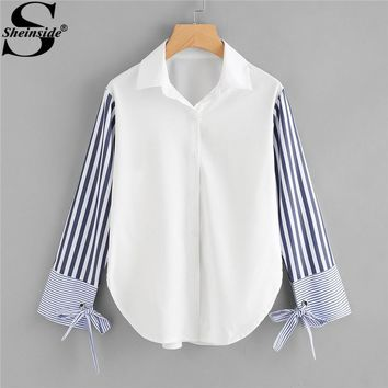 Sheinside Colorblock Striped Sleeve Tie Detailed Top Button Turn Down Collar Long Sleeve Shirt Spring Women OL Work Blouse
