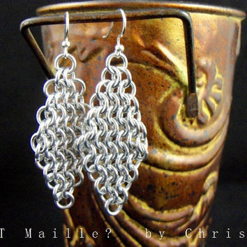 Earrings  Classic Chainmaille Diamonds Chain by GOTMaillebyChristy