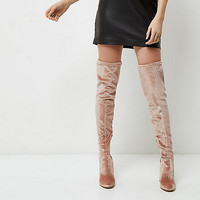 Light pink velvet over-the-knee boots - Boots - Shoes & Boots - women