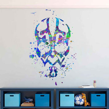 kcik1722 Full Color Wall decal poster space Watercolor paint splashes Darth Maul Star Wars children's bedroom Living