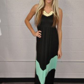 MVB Black and Mint Color Block Chevron Maxi Dress | Dresses - Modern Vintage Boutique