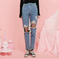 Cutout-Knee Washed Tapered Jeans