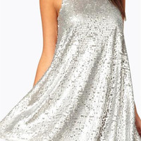 Silver Sequined Wrap Sleeveless Slim Dress