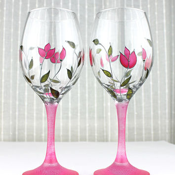 Wine Glasses, Wedding Glasses,  Anniversary Glasses, Toasting Glasses, Hand painted, Set of 2, Pink Tulips Design