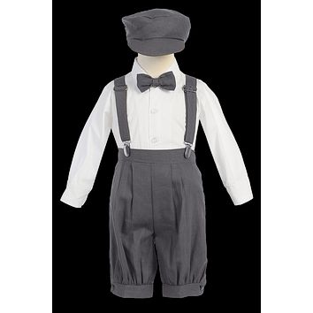 (Sale) 18-24m Boys Charcoal Grey Linen Blend Suspender Knicker Shorts Set