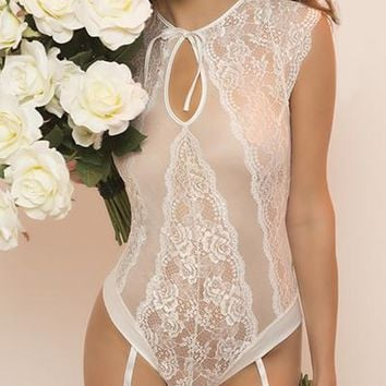 Sexy Indian Bride Lace High Neck Cap Sleeved Gartered Teddy