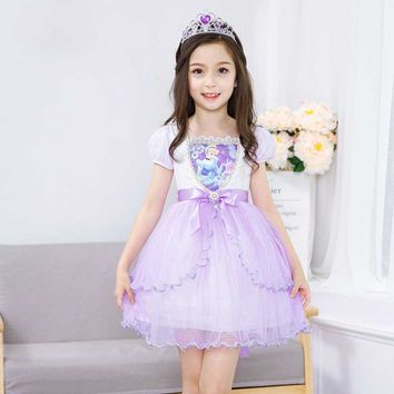 Girls Clothing 2017 Summer Snow White Dress for Girls Party Elsa Princess Sofia Dress Cinderella Costume Children's Clothes 5 6Y