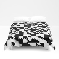 Simple Black and White geometrical Pattern Duvet Cover by Sheila Wenzel